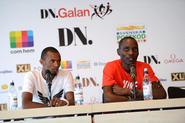 Ayanleh Souleiman and Asbel Kiprop at the pre-event press conference ahead of the 2013 IAAF Diamond League in Stockholm (Anders and Hasse Sjogren)