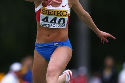Yana Borodina of Russia wins the Girls' Triple Jump final (Getty Images)