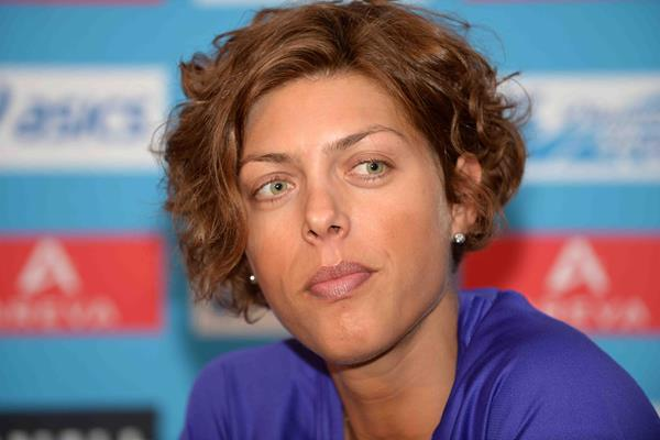 Blanka Vlasic ahead of the 2014 IAAF Diamond League in Paris (Jiro Mochizuki)