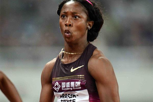 Shelly-Ann Fraser-Pryce clocks a world lead of 10.93 at the Shanghai Diamond League (Jiro Mochizuki)