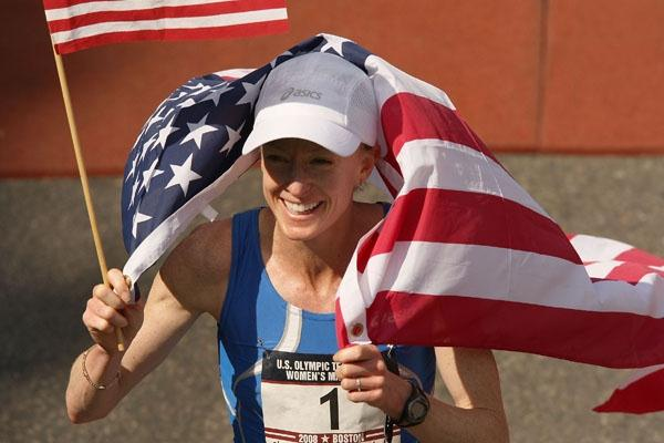 All smiles - Deena Kastor after her triumph at the U.S. Olympic Marathon trials (Getty Images)
