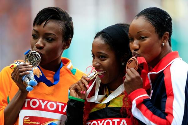 Womens 100m Medal Ceremony at the IAAF World Athletics Championships Moscow 2013 (Getty Images)