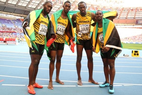 Carter, Bailey-Cole, Ashmeade and Bolt in the mens 4x100m Relay at the IAAF World Athletics Championships Moscow 2013 (Getty Images)