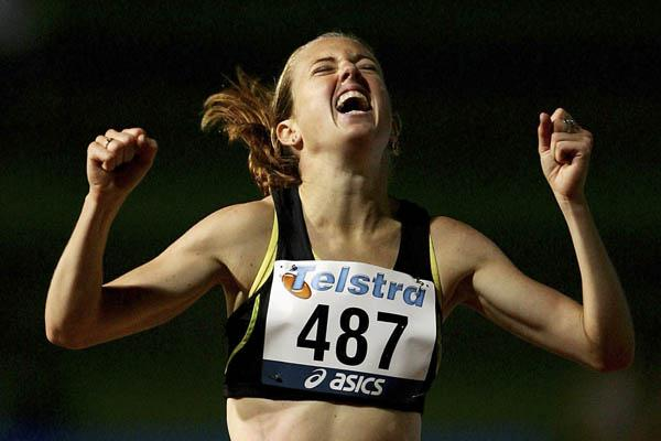 Lisa Corrigan celebrates yet another 2007 PB in Sydney (Getty Images)