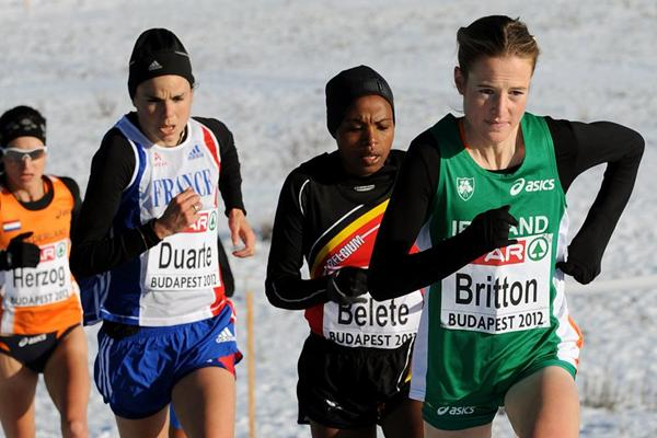 Fionnuala Britton on her way to winning the senior women's title at the European Cross Country Championships (Mark Shearman)
