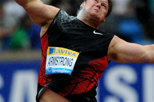 Dylan Armstrong heaves a shot in the rain at the Aviva Birmingham Grand Prix – Samsung Diamond League  (Mark Shearman)