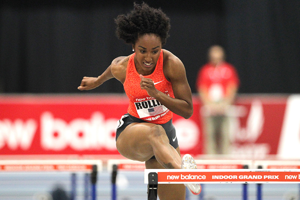 Brianna Rollins on her way to winning the 60m hurdles at the New Balance Indoor Grand Prix in Boston (Andrew McClanahan)