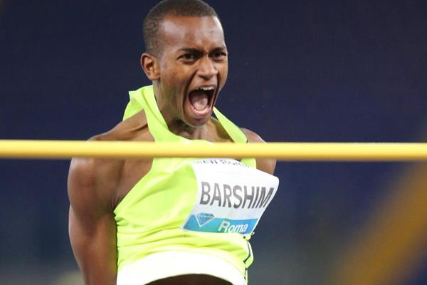 Mutaz Essa Barshim celebrates his 2.41m clearance in the high jump at the IAAF Diamond League meeting in Rome (Gladys Chai von der Laage)