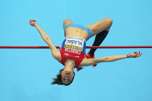 Blanka Vlasic in high jump qualifying at the 2014 IAAF World Indoor Championships in Sopot (Getty Images)