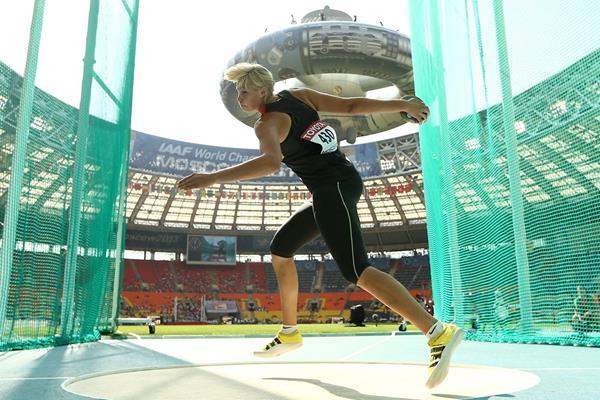 Nadine Muller in the women's Discus at the IAAF World Championships Moscow 2013 (Getty Imagesaes)