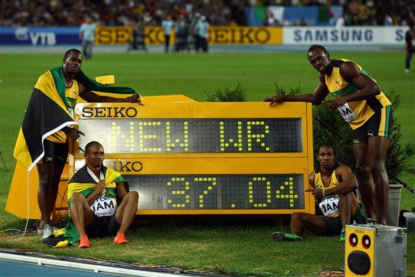 Nesta Carter, Michael Frater, Yohan Blake and Usain Bolt of Jamaica celebrate victory and a new world record in the men's 4x100 metres relay final (Getty Images)