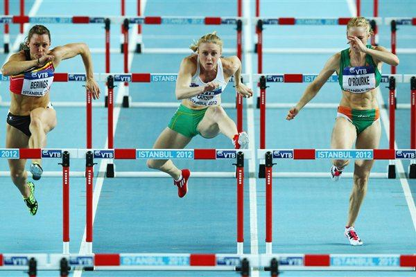 (L-R) Eline Berings of Belgium, Sally Pearson of Australia and Derval O'Rourke of Ireland compete in the Women's 60 Metres Hurdles semi final during day two - WIC Istanbul (Getty Images)