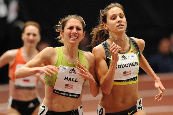 Sara Hall (l) and Kara Goucher battle it out in the Millrose Games Mile in 2008 (Kirby Lee)