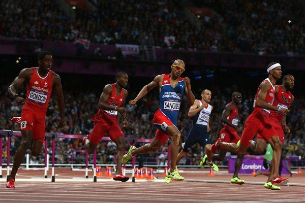 Jehue Gordon of Trinidad and Tobago, Felix Sanchez of Dominican Republic and Javier Culson of Puerto Rico race in the Men's 400m Hurdles final on Day 10 of the London 2012 Olympic Games on 6 August 2012 (Getty Images)