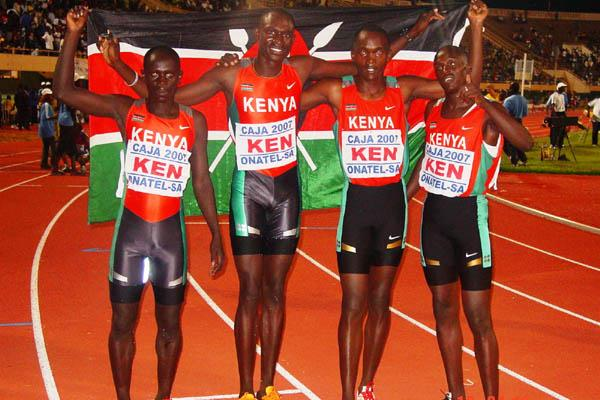 Kenya's victorious African Junior 4x400 Relay champions (Mark Ouma)