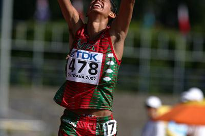 Pedro Daniel Gomez of Mexico wins the silver medal in the 10,000m Race Walk final (Getty Images)