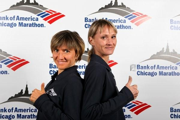 Irina Mikitenko and Lilia Shobukova at the pre-race press conference in Chicago (Victah Sailer)