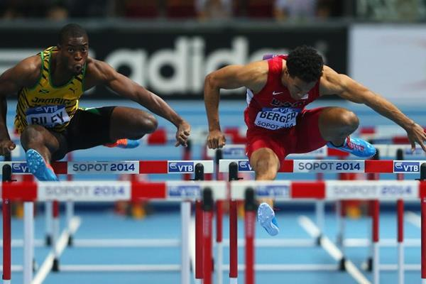 Dominic Berger in the 60m hurdles at the 2014 IAAF World Indoor Championships in Sopot (Getty Images)