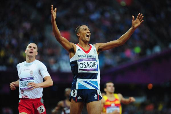 Andrew Osagie of Great Britain reacts after being  qualified for the  Men's 800m finals - London 2012 Olympic Games  on August 7, 2012 (Getty Images)