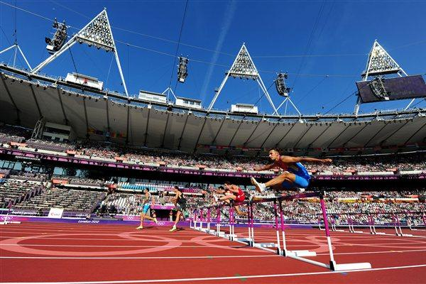Athletes compete during the Men's Decathlon 110m Hurdles heats on Day 13 of the London 2012 Olympic Games at Olympic Stadium on August 9, 2012  (Getty Images)