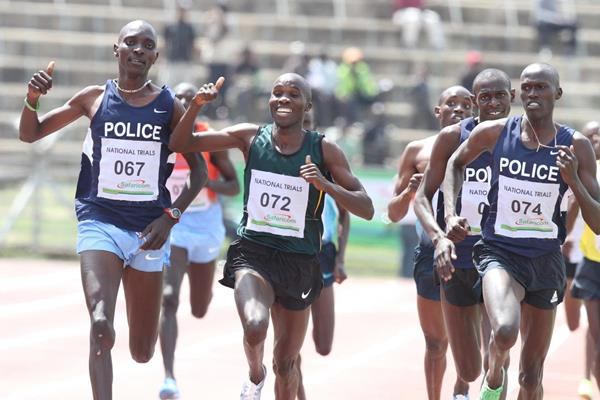 Silas Kiplagat winning the 1500m at the 2013 Kenyan trials (Stafford Ondego (The Standard))