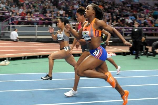 Me'Lisa Barber heads the women's 60m at the 2010 Millrose Games (Kirby Lee)