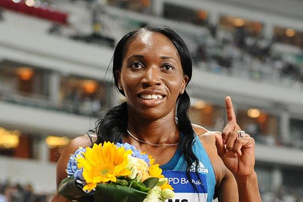 Novlene Williams-Mills after winning the 400m at the 2014 IAAF Diamond League meeting in Shanghai (Errol Anderson)