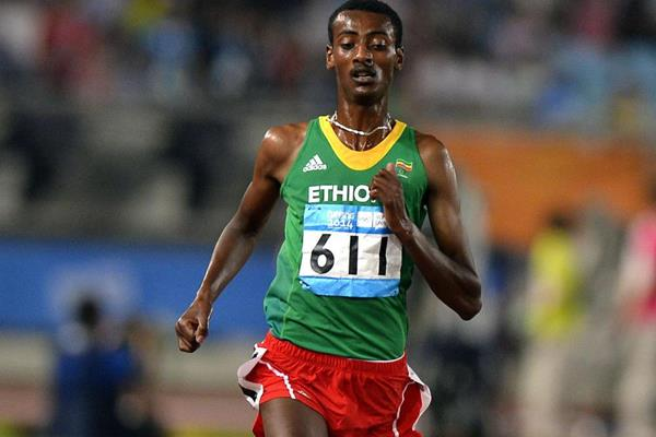Yomif Kejelcha winning the 3000m at the 2014 Youth Olympic Games (YOG LOC)