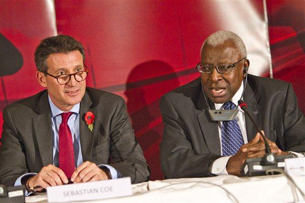 IAAF Vice President Sebastian Coe and IAAF President Lamine Diack after the London 2017 decision was announced (Phillipe Fitte)