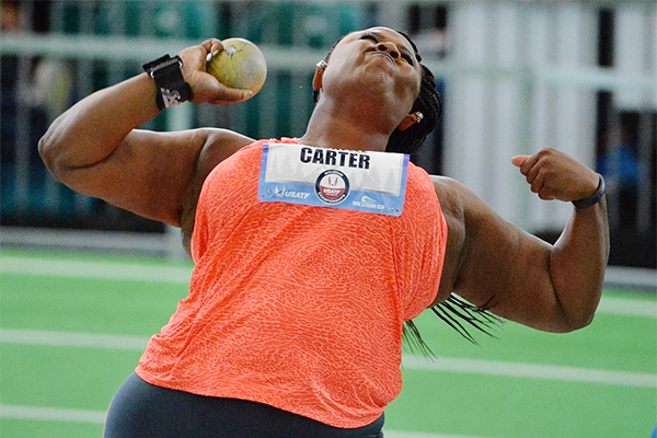 Michelle Carter in action at the US Indoor Championships (Kirby Lee)