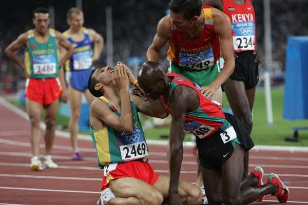 Hicham El Guerrouj and Bernard Lagat celebrate winning gold and silver in Athens (Getty Images)