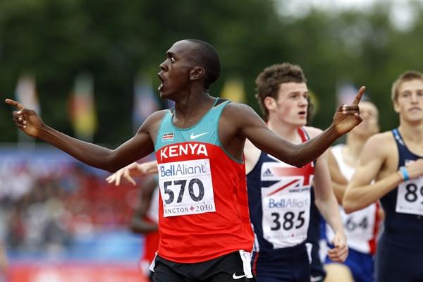 Kenya's David Mutua crosses the line in the 800m in a PB of 1:46.41 (Getty Images)