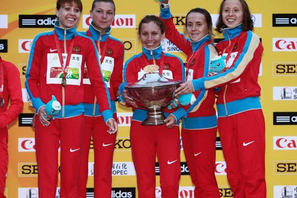 The winning Russian women's 20km team at the 2014 IAAF World Race Walking Cup (Getty Images)