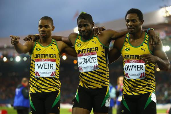 Jamaica's three mens' 200m medallists at the 2014 Commonwealth Games (Getty Images)