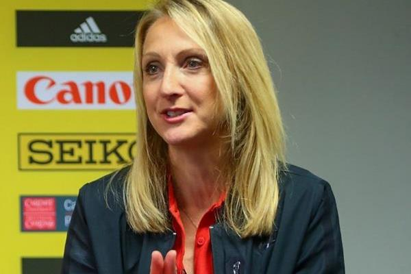 Paula Radcliffe at the press conference for the IAAF/Cardiff University World Half Marathon Championships Cardiff 2016 (Getty Images)
