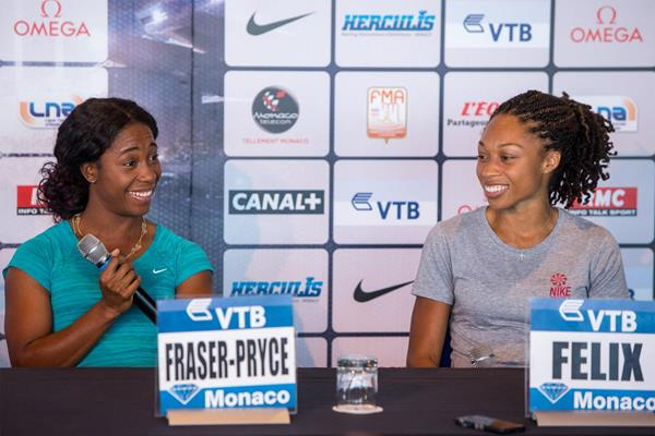 Shelly-Ann Fraser and Allyson Felix ahead of the IAAF Diamond League meeting in Monaco (Philippe Fitte)