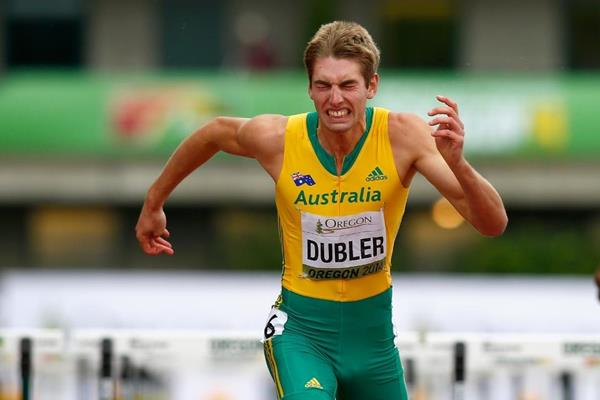 Australia's Cedric Dubler in the decathlon 110m hurdles at the 2014 IAAF World Junior Championships in Eugene (Getty Images)
