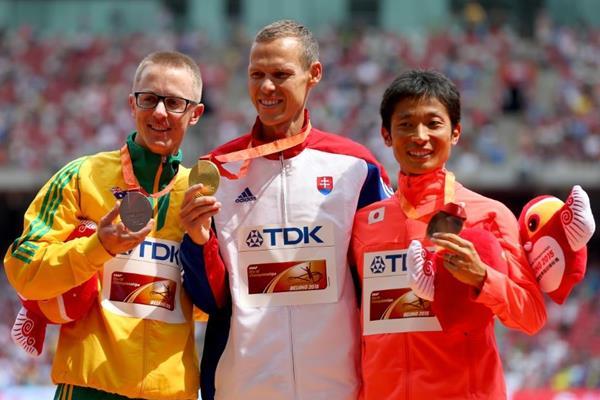 50km race walk medallists Matej Toth (centre), Jared Tallent (left) and Takayuki Tanii (left) at the IAAF World Championships, Beijing 2015 (Getty Images)