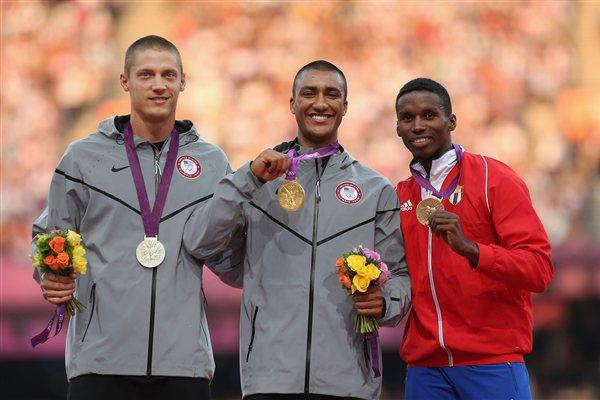 Silver medalist Trey Hardee of the United States, gold medalist Ashton Eaton of the United States and bronze medalist Leonel Suarez of Cuba pose on the podium during the medal ceremony for the Men's Decathlon on Day 14 of the London 2012 Olympic Games at Olympic Stadium on August 10, 2012  (Getty Images)