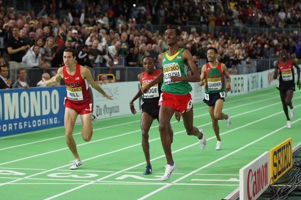 Yomif Kejelcha wins the 3000m at the IAAF World Indoor Championships Portland 2016 (Getty Images)