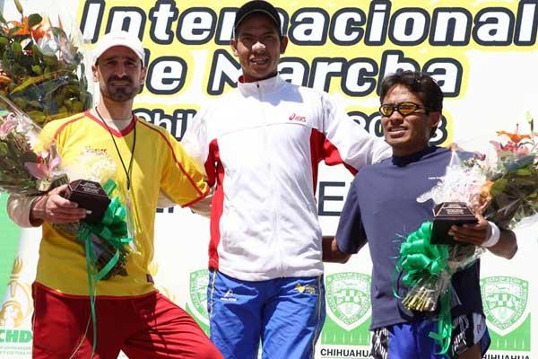 Jesus Sanchez tops out the 50km podium in Chihuahua, Mexico (CONADE (conade.gob.mx))