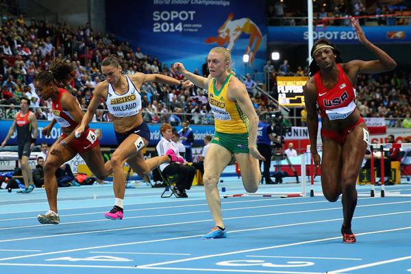 (f.r.t.l.) Nia Ali, Sally Pearson, Cindy Billaud and Janay DeLoach in the 60m hurdles final at Sopot 2014 ()