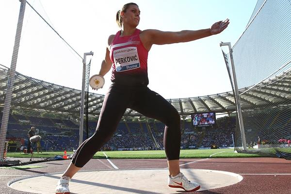 Sandra Perkovic at the 2013 IAAF Diamond League in Rome (Giancarlo Colombo)