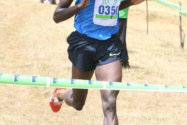 Abraham Chebii wins the senior men's 12km race at the Sixth Athletics Kenya Cross Country Series meet in Eldoret (Elias Makori)