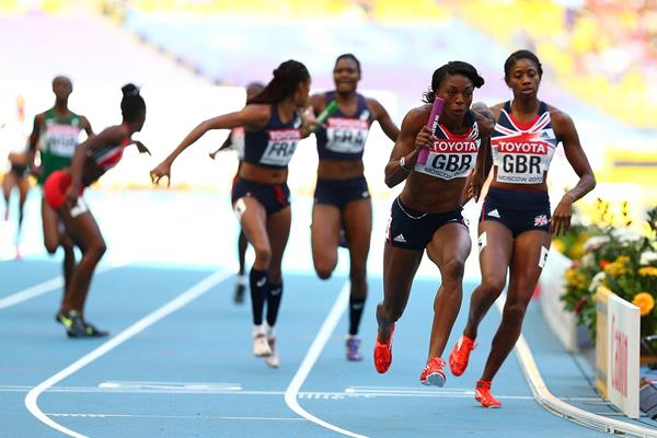Action shot in the womens 4x400m Relay at the IAAF World Champonships Moscow 2013 (Getty Images)