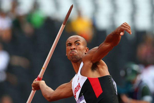 Damian Warner of Canada is about to throw his javelin during the Men's Decathlon Javelin Throw on Day 13 of the London 2012 Olympic Games  on August 9, 2012 (Getty Images)