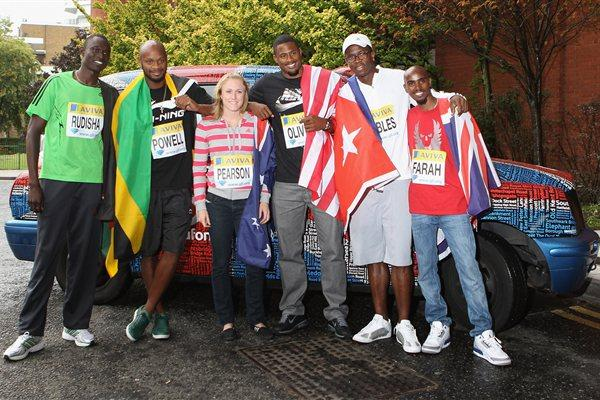 David Rudisha, Asafa Powell, Sally Pearson, David Oliver, Dayron Robles, and Mo Farah at the pre-meet press conference in London (Getty Images)