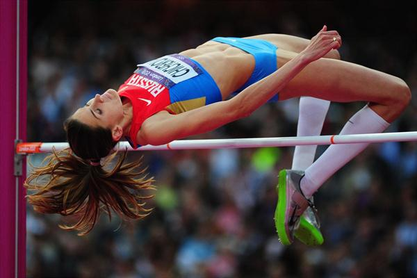 Anna Chicherova of Russia competes during the Women's High Jump Final  of the London 2012 Olympic Games at Olympic Stadium on August 11, 2012 (Getty Images)