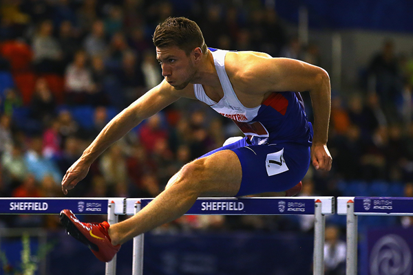 Andrew Pozzi on his way to winning the 60m hurdles at the British Indoor Championships (Getty Images)
