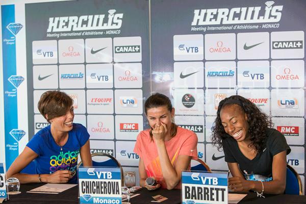 High jumpers Blanka Vlasic, Anna Chicherova and Brigetta Barrett at the Monaco Diamond League press conference (Philippe Fitte)